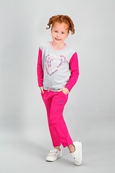 U.S. Polo Assn.  Lisanslı Grimelanj Kız Çocuk Eşofman Takımı Gri